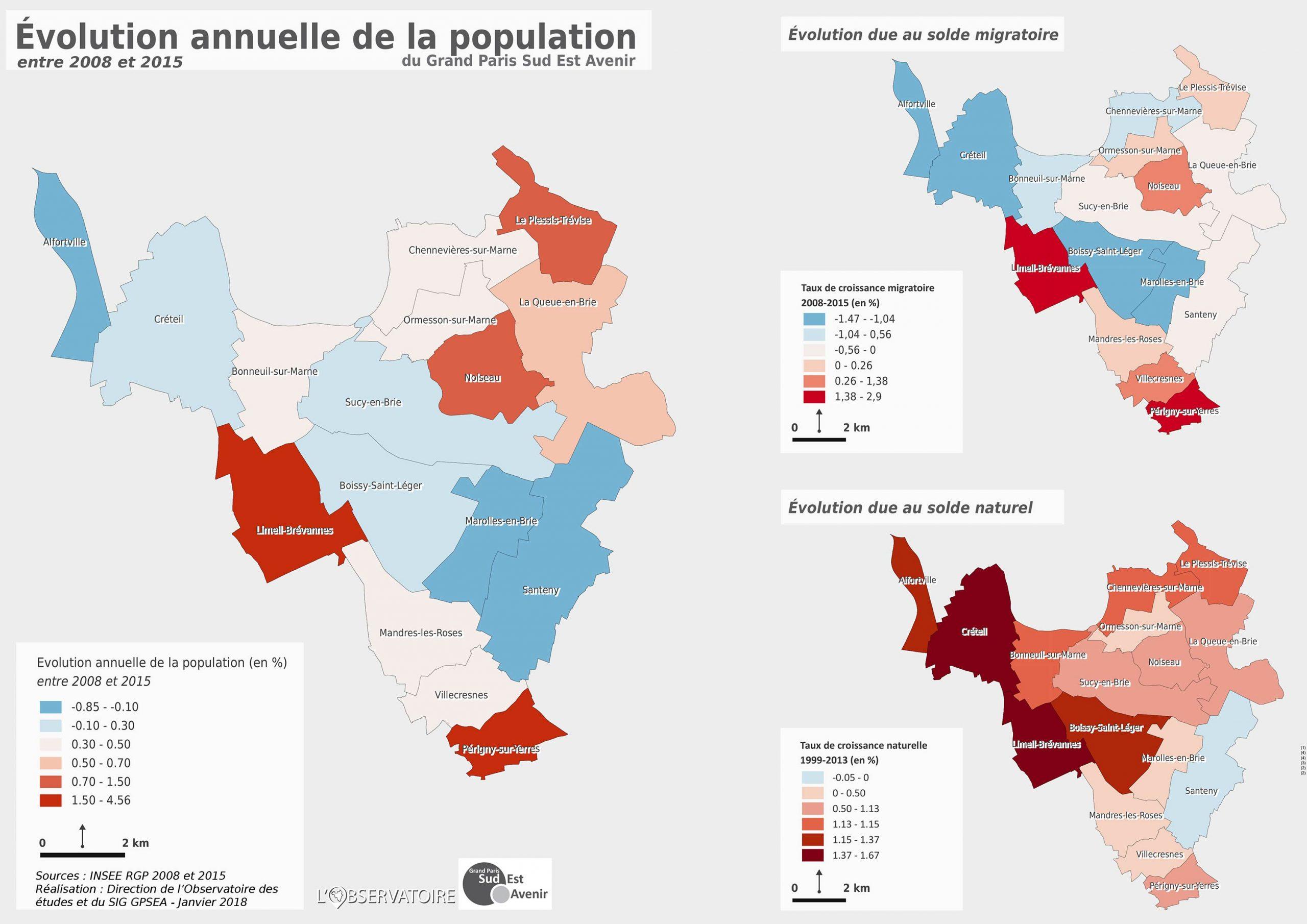 carte évolution de la population